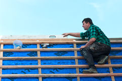 Roofer at work Royalty Free Stock Image