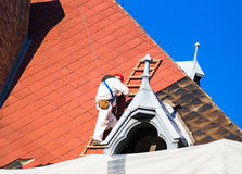 Roofer at work Stock Image