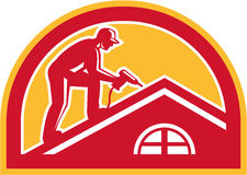 Roofer Working on Roof Half Circle Retro royalty free illustration