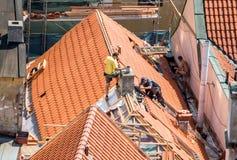 Roofers работая на ремонте исторических крыш Стоковые Фотографии RF