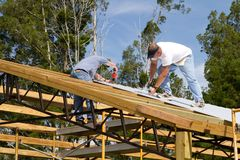 Roofers Fastening Stock Image