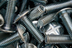 Roofing bolts. Steel fixings used in construction or building, known as roofing bolts stock photo