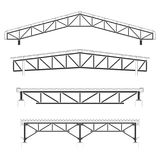 Roofing building,steel frame cover, roof truss set, vector illustration Stock Photos