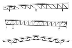 Roofing building, steel frame detail, roof truss set, vector illustration Stock Photography