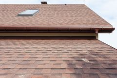 Free Roofing Construction And Building New House With Modular Chimney, Skylights, Attic, Dormers And Eaves. Royalty Free Stock Photography - 116070247
