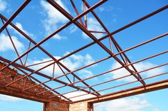 Roofing Construction. Metal Roof Frame House Construction. Metal Roof  Trusses. Royalty Free Stock Photos