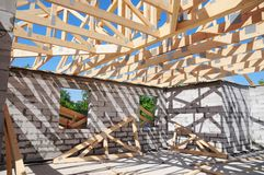 Roofing construction with wooden beams, logs, rafters, trusses. Roofing construction with wooden beams, timbers, logs, rafters, trusses royalty free stock images