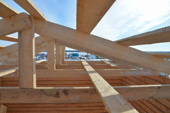 Roofing Construction. Wooden Roof Frame House Construction.  royalty free stock photos