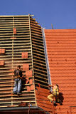 Roofing construction works stock image