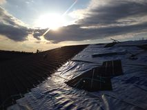 Roofing days. Canada scenery landscape roofi stock photo