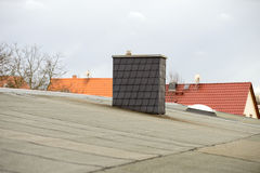 Roofing felt. Covered flat roof with roofing felt Stock Image