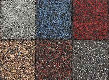 Asphalt shingles samples Stock Photo