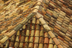 Roofing tiles 15. Many roofing tiles on a building roof Royalty Free Stock Photography