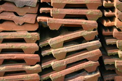 Roofing tiles. Pile of used roofing tiles royalty free stock photography