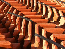 Roofing tiles on a pallet. Tightly packed red roofing tiles on a pallet Royalty Free Stock Photos