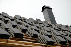 Roofing tiles on roof Stock Photo