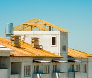 Roofing. The underconstruction house, close up Stock Image