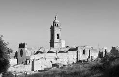 Roofless church. Bell along with ruins of a roofless church, the imagen is in black and white , is located in the town of Medina Sidonia in Spain Stock Photo