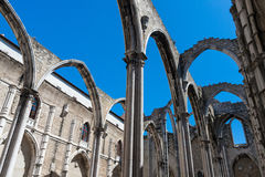 Roofless church in Lisbon, Portugal Stock Images