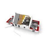 Roofless Haus auf Architekten blueprints Rot lizenzfreie abbildung
