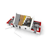 Roofless house on architect blueprints red Stock Images