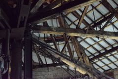 Roofline and old wooden truss, Bethlehem Steel Mill Royalty Free Stock Images