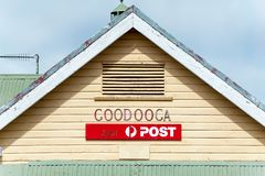 Roofline and signage for old weather board post office royalty free stock photography