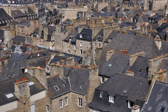 Roofs. The uniformity of the roofs of an old quarter of dinan(britanny stock image