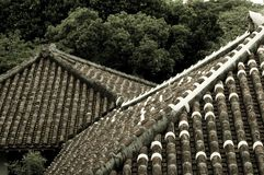 Roofs. Of some traditional Japanese building Stock Photo