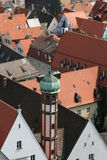 Roofs. Panoramic view over the rooftops of the old city town in Augsburg, Germany Royalty Free Stock Image