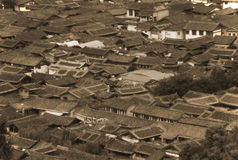 Roofs of ancient houses in old Lijiang, China, Yunnan Royalty Free Stock Images