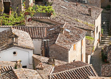 Roofs of ancient Sorano town. Roofs in ancient town Sorano in Tuscany, Italy Stock Photo