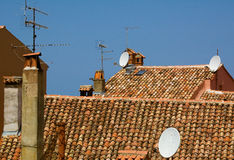 Roofs and antennas Royalty Free Stock Photo