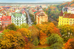 Roofs of autumnal Prague royalty free stock images