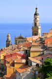 Roofs and Basilica at Menton in France Royalty Free Stock Photography