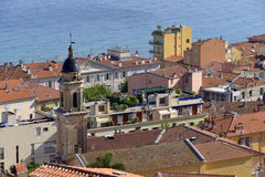 Roofs and Basilica at Menton in France Royalty Free Stock Images