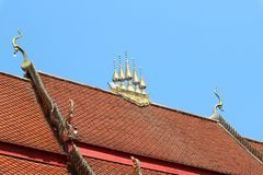 Roofs, beautiful Thai temples, natural background, bright sky days.  royalty free stock photography