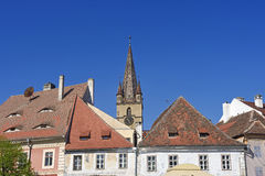 Roofs and bell tower of the Evangelical Royalty Free Stock Photos