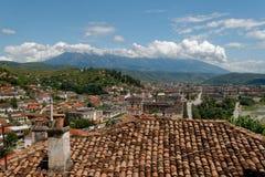 The roofs of Berat, Albania stock photos