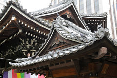 Roofs of the buddhist temple. Decorations of the roofs of the Rokkaku-do buddhist temple in Kyoto, Japan Royalty Free Stock Photos