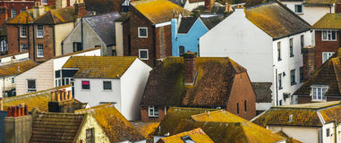 Roofs of buildings covered with green moss, seaside spot seen fr Stock Photography