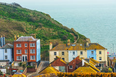 Roofs of buildings covered with green moss, seaside spot seen fr Stock Photo