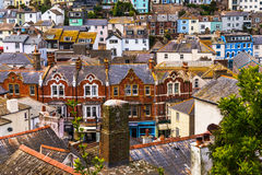 Roofs of buildings covered with green moss, seaside spot seen fr Royalty Free Stock Photos