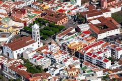 Roofs of buildings of historical town of Garachico. Belltower of Church of Saint Anna Iglesia de Santa Ana. The Garachico is an Stock Photo