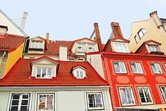Roofs of buildings in old town, Riga, Latvia stock photo