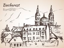 Roofs, buildings, Panoramic street view. Sketch. Bucharest, Roma. Nia.  on white background Royalty Free Stock Image