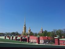 Roofs of the buildings in Peter and Paul fortress. Peter and Paul fortress (Petropavlovskaya fortress) is situated in Saint Petersburg, Russia Royalty Free Stock Photo