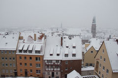 Roofs of buildings in winter time. Nuremberg. Germany. Stock Photo
