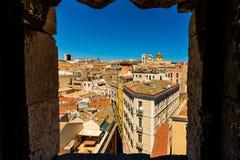 Roofs of Cagliari in Sardegna. Cagliari - capital of Sardinia. Sardegna wide angle view. Roofs and houses of biggest city in Sardinia island - Cagliari, Italy stock image