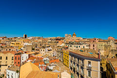 Roofs of Cagliari in Sardegna. Cagliari - capital of Sardinia. Sardegna wide angle view. Roofs and houses of biggest city in Sardinia island - Cagliari, Italy stock images